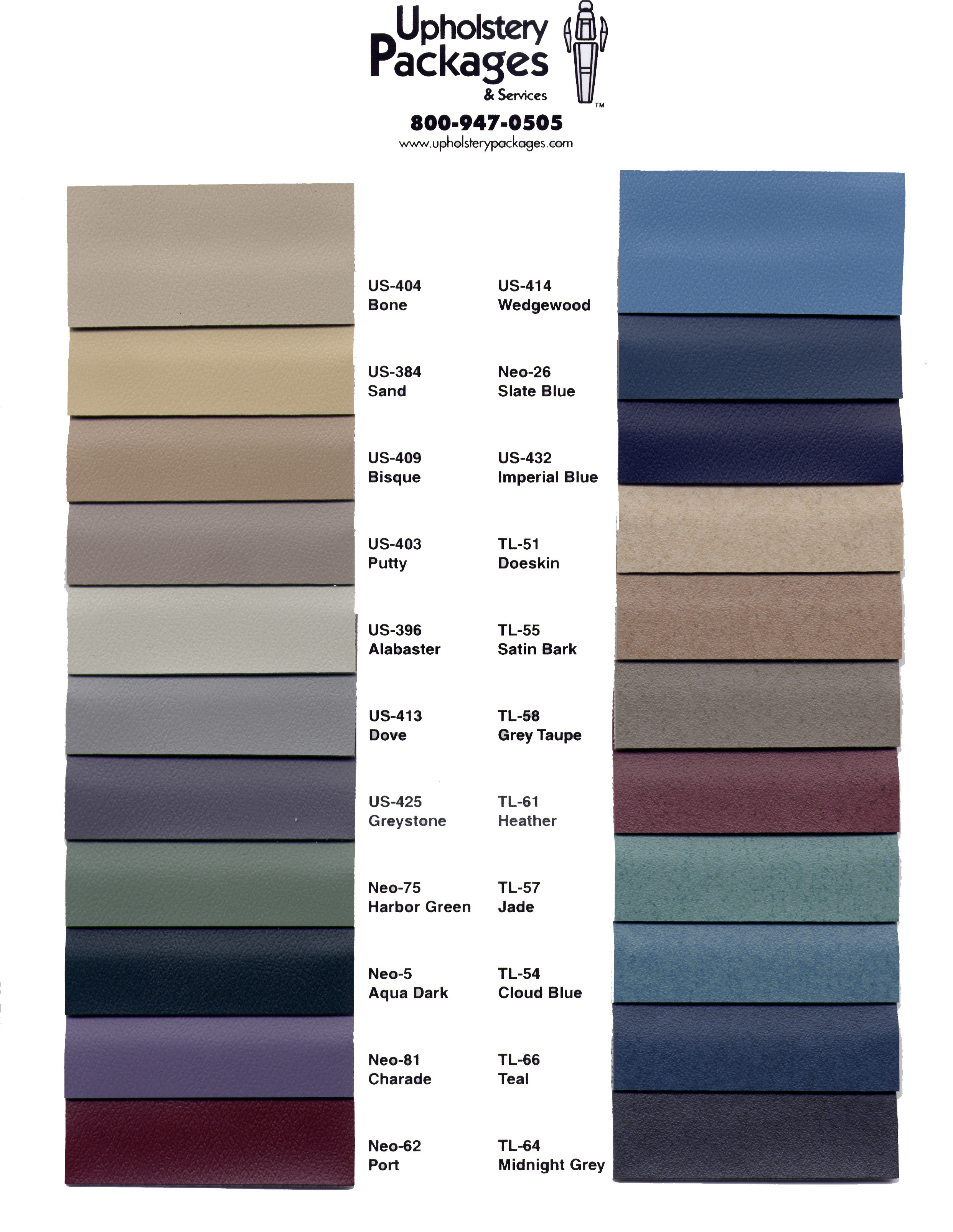 Color Charts Dental Upholstery And Stools Uph
